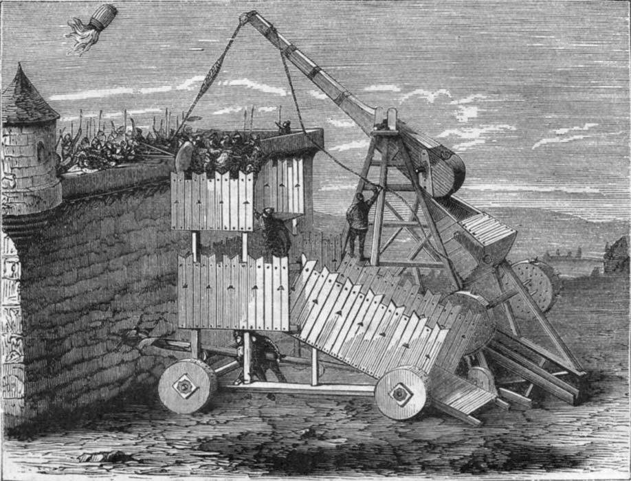 Grabado de una catapulta del siglo XIII destinada a arrojar fuego griego. (Public Domain)