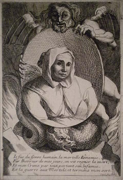 Grabado del siglo XVII en el que aparece un retrato de Catherine Deshayes sostenido por un diablo alado. (Public Domain)
