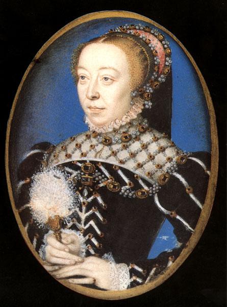 Retrato de Catalina de Médicis, reina consorte de Francia y clienta del célebre boticario Michel de Nostradamus. Miniatura atribuida a François Clouet, c. 1555 (Public Domain)