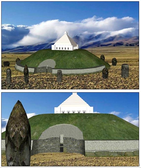 En caso de aprobarse la inhumación de la 'Princesa del Hielo', está previsto que se construya un monumento en su honor en la meseta de Ukok. Imágenes: Centro Espiritual de los Turcos de Kin Altái.