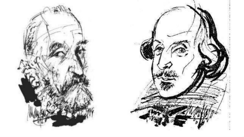 Retratos a lápiz de Cervantes (izquierda) y Shakespeare (derecha). (Fotografía: ABC)