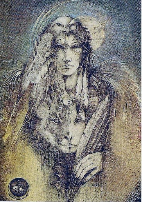 Ilustración de un mago o chamán acompañado de sus animales totémicos (totemtalk)