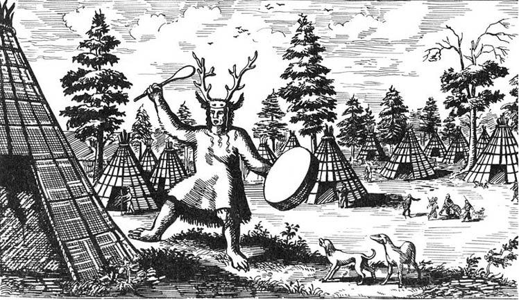 Dibujo del siglo XVII con un chamán Tungus tocado con astas de ciervo. (Dominio público)