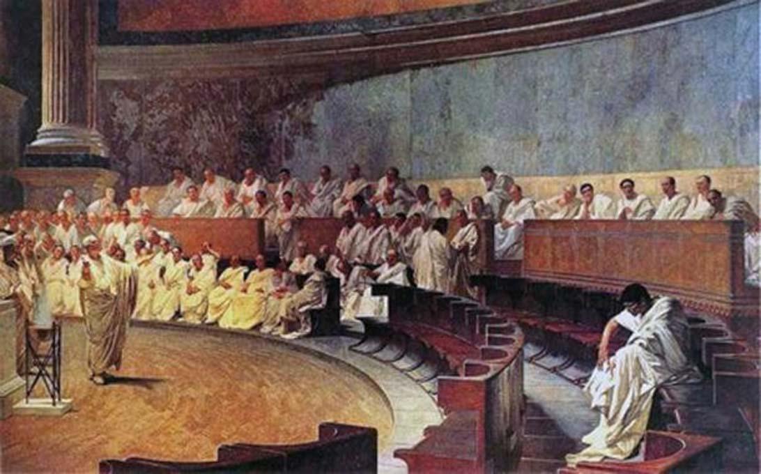 'Cicerón denunciando a Catilina,' óleo de Cesare Maccari (1889). (Dominio público) Representación de una sesión del Senado romano.