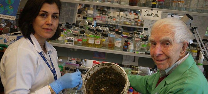 El microbiólogo Julian Davies y Shekooh Behroozian, miembro de su equipo, analizando la arcilla bactericida. (Fotografía: UBC News).