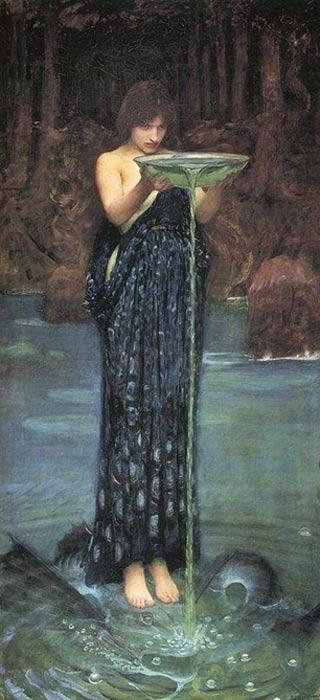 La hechicera Circe practicando la adivinación mediante la hidromancia. 'Circe Invidiosa', óleo de John William Waterhouse
