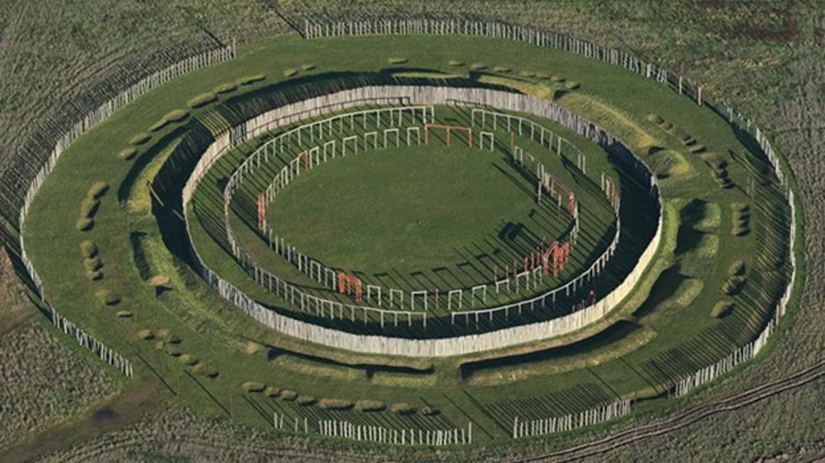 Estos círculos concéntricos de postes y zanjas ubicados en Pömmelte, Alemania, forman parte de la reconstrucción de un lugar ritual prehistórico. (Jens Wolf/picture alliance/dpa)