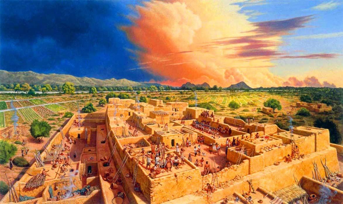 Ciudad Hohokam en torno al 1100 d. C. Ilustración de Michael Hampshire. Museo de Pueblo Grande
