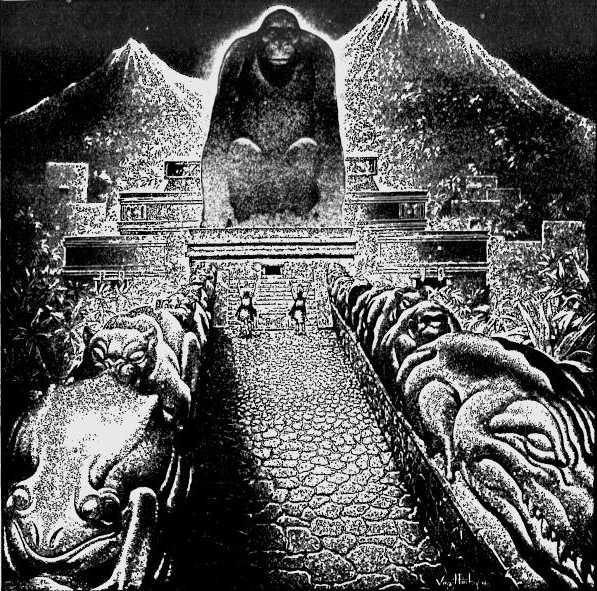 """Dibujo conceptual de la """"Ciudad Perdida del Dios Mono"""" de Theodore Morde, obra del artista Virgil Finlay. Publicado originalmente en la revista The American Weekly, número del 22 de septiembre de 1940. (Public Domain)"""