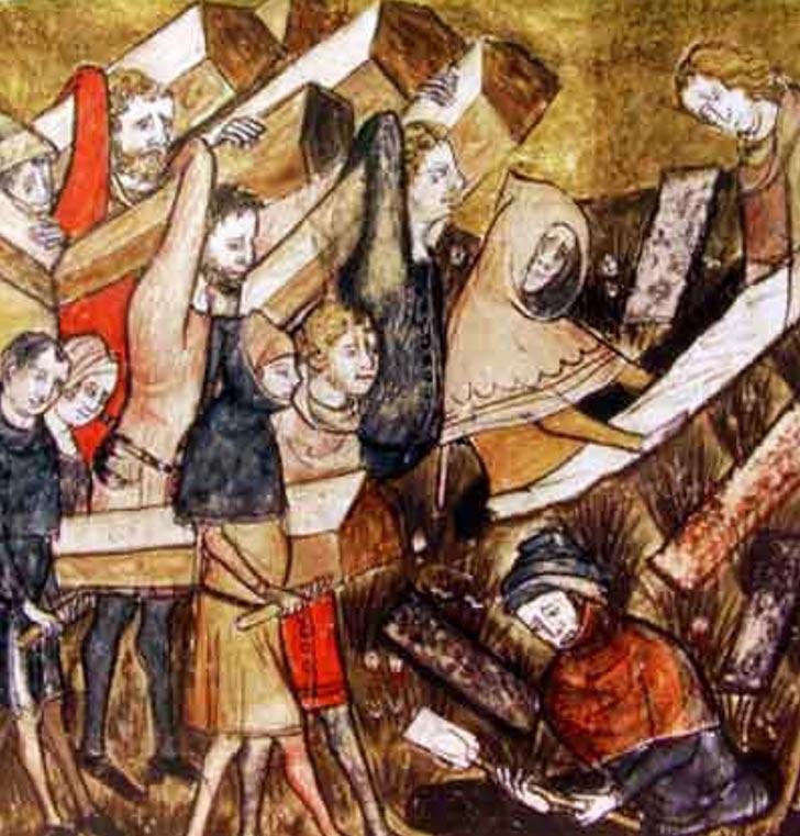 Ciudadanos de Tournai, Bélgica, enterrando a víctimas de la Peste Negra. Public Domain