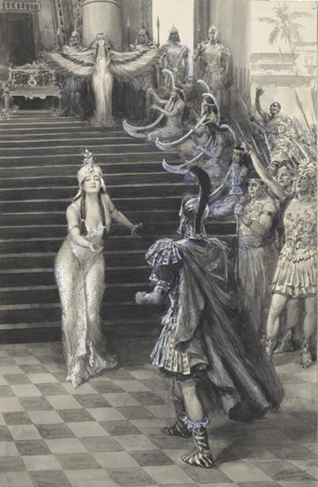 Cleopatra es retratada a menudo como una seductora. Dibujo de Faulkneer en el que vemos a Cleopatra dando la bienvenida a Marco Antonio. (Public Domain)