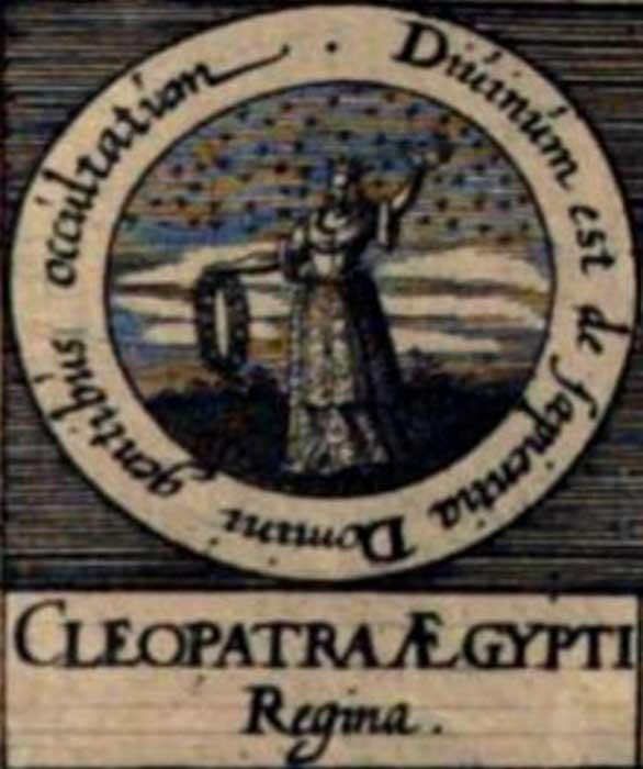 """Imaginativa ilustración de Cleopatra la Alquimista en los """"Sellos de los Filósofos"""" de la obra de Johann Daniel Mylius 'Basilica philosophica' (1618). (Public Domain)"""