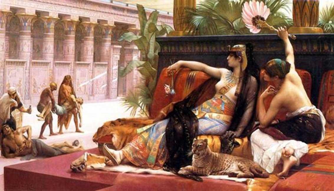"""""""Cleopatra probando venenos en prisioneros condenados,"""" óleo de Alexandre Cabanel (1887). (Dominio público)"""