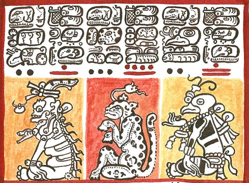 Reproducción de un detalle del Codex Dresdensis (siglo XIII) en el que se pueden observar varios símbolos de numeración maya (Dibujo: Lacambalam / CC BY-SA 4.0)