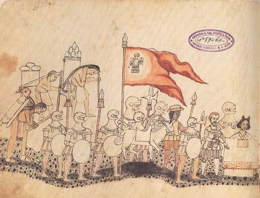 Página del Códice Azcatitlán en el que podemos ver al ejército español, con Hernán Cortés y la Malinche al frente. (Public Domain)
