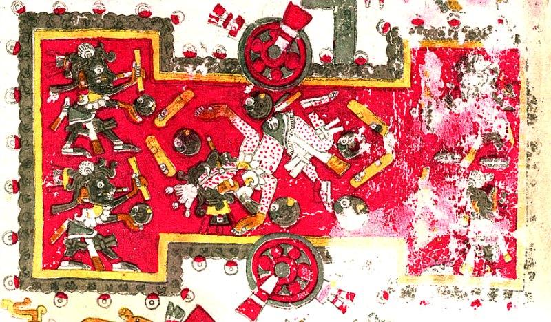 Representación de un campo de Juego de Pelota en forma de 'I' con jugadores portando palos, lo que parece apuntar a una versión de este deporte en la que se utilizaban raquetas o palos. Detalle del Códice Borgia, folio 45. Biblioteca Apostólica de El Vaticano. (Public Domain)