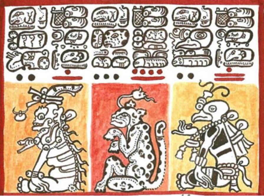 Reproducción de un detalle del Códice de Dresde (siglo XIII) en la que se observan diversos jeroglíficos mayas (CC BY-SA 4.0)
