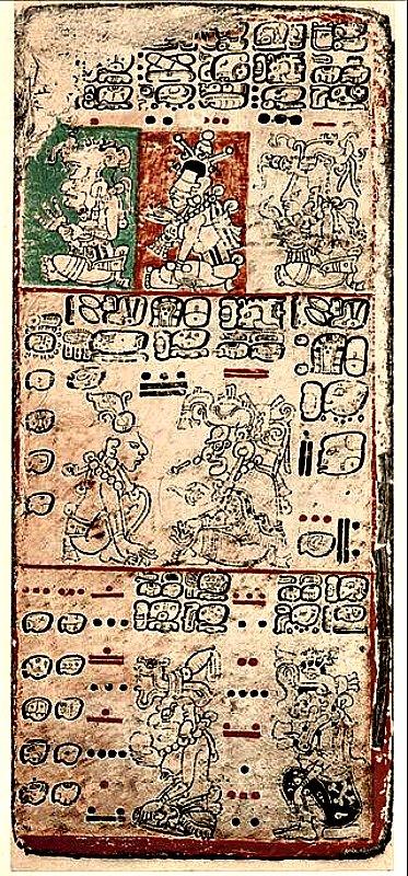 Datos sobre Venus en el códice maya de Dresde. Reproducción pintada de la página 9 del Códice de Dresde, adaptada de la edición de 1880 del libro de Förstemann. (Public Domain)
