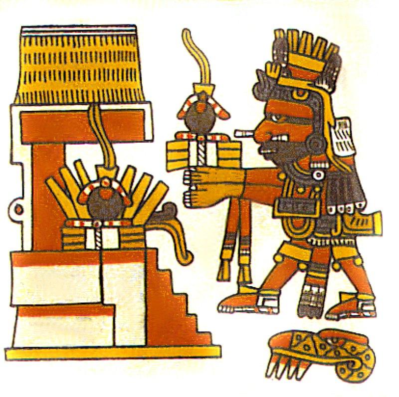 En este detalle del Códice Borgia, que data de finales del siglo XV, el dios mexica Xiuhtecuhtli aparece con una pelota de goma como ofrenda para un templo. Cada una de las pelotas se ornamenta con una pluma de quetzal como parte de la ofrenda. Biblioteca Apostólica de El Vaticano. (Public Domain)