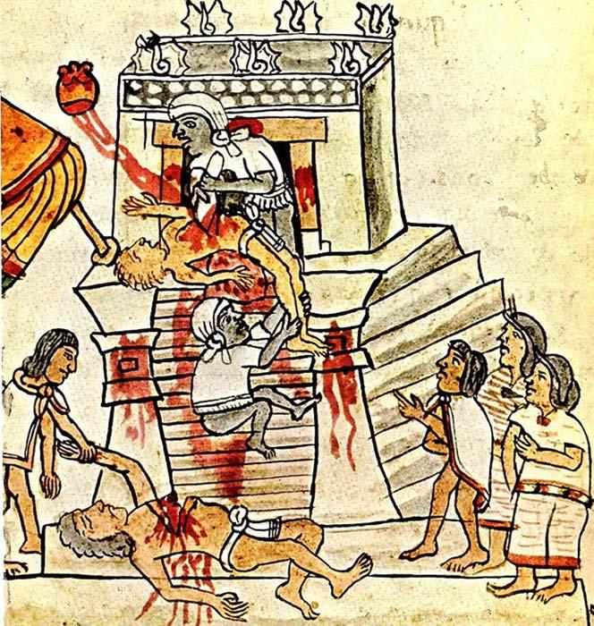 Sacrificios humanos en las ilustraciones del Códice Magliabechiano, folio 70. (Dominio público)
