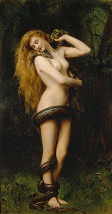 Lilith (1892), óleo de John Collier expuesto en la Galería de Arte Atkinson, Street (Inglaterra). (Public Domain)