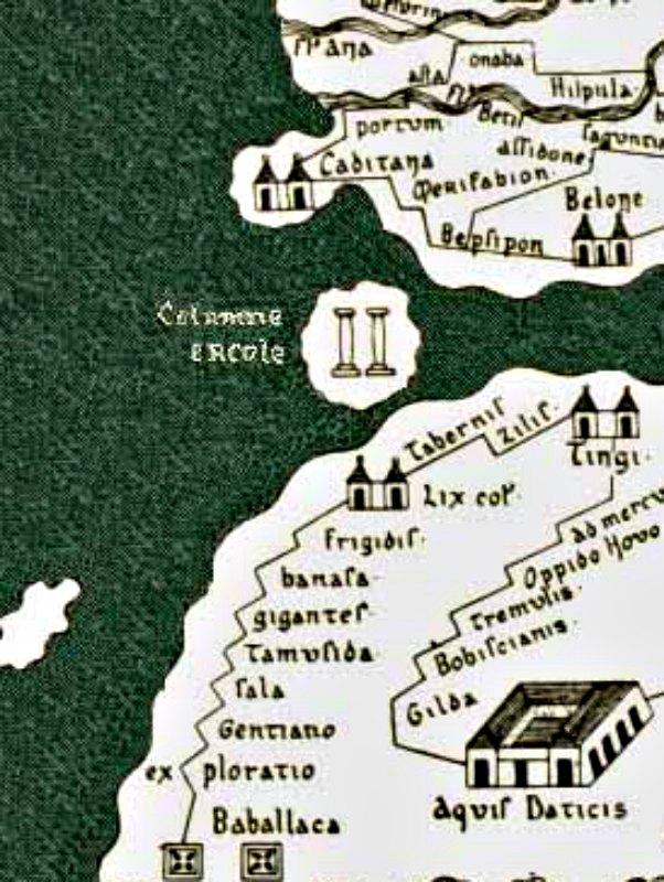 Detalle de la supuesta ubicación de las Columnas de Hércules en el mapa conocido como Tabula Peutingeriana (siglos I-IV) recopilado por Conrado Millieri en 1887. (Public Domain)