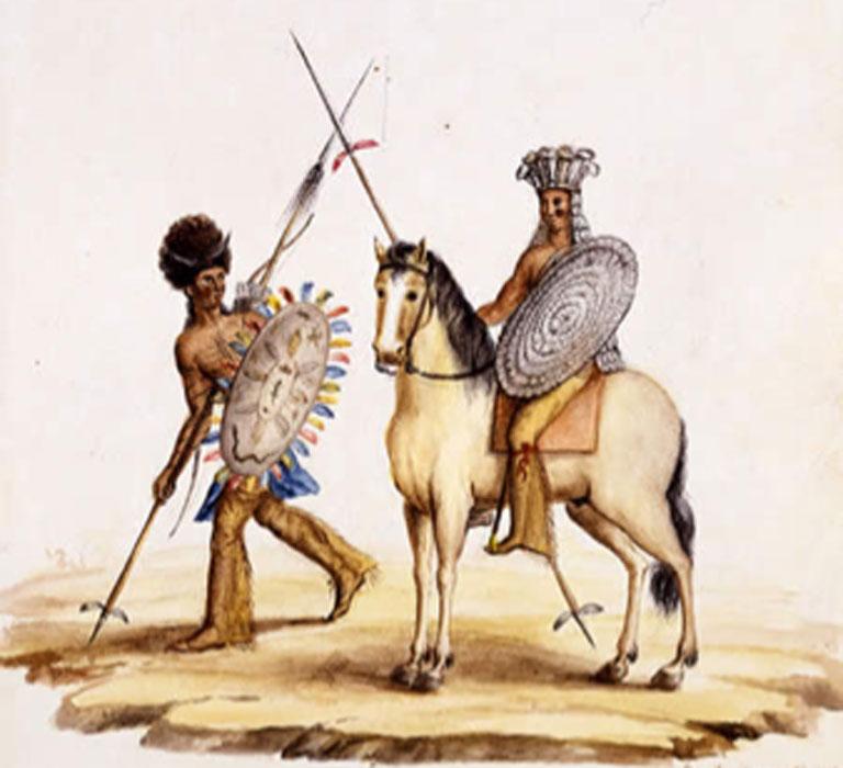 Comanches del oeste de Texas ataviados para la guerra. (Dominio público)