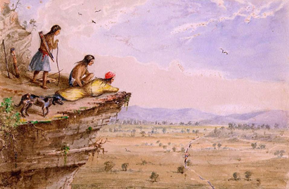 Un grupo de comanches observa una caravana en su recorrido a través de un valle de la región de Trans-Pecos en el oeste de Texas (1850), acuarela de Lee Arthur Tracy. (Dominio público)