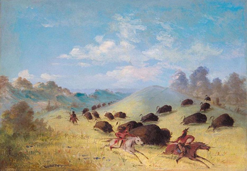 'Indios comanches persiguen búfalos con lanzas y arcos' (1848-1849), óleo de George Catlin. (Dominio público)