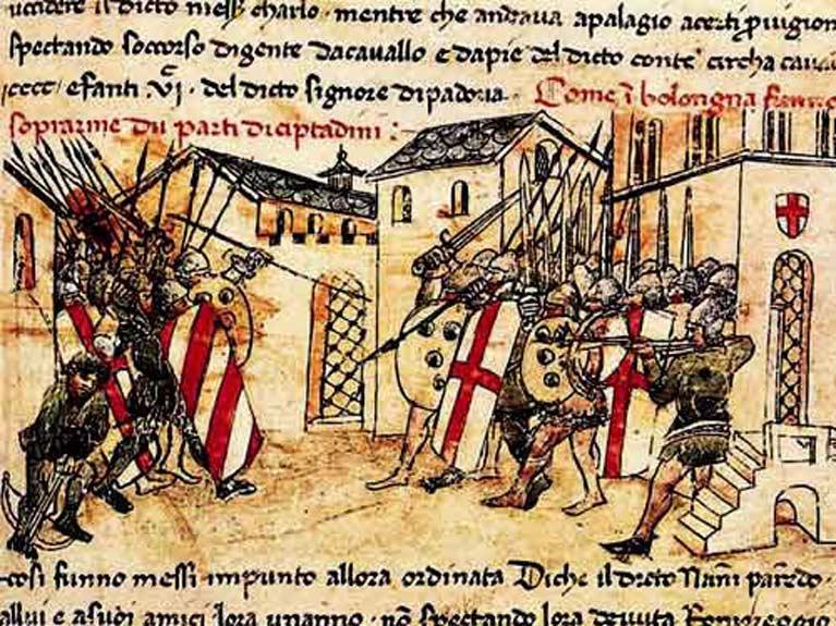 Ilustración de un combate del siglo XIV entre milicias de las facciones güelfa y gibelina en Bolonia (Public Domain)