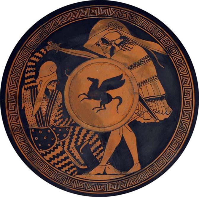 Combate entre guerreros griegos y persas en la decoración de una antigua kylix. Siglo V a. C. (Dominio público)