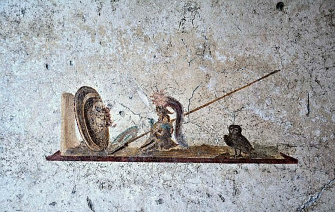 Pintura de un hombre de corta estatura luchando con una bestia (CC by SA 3.0)