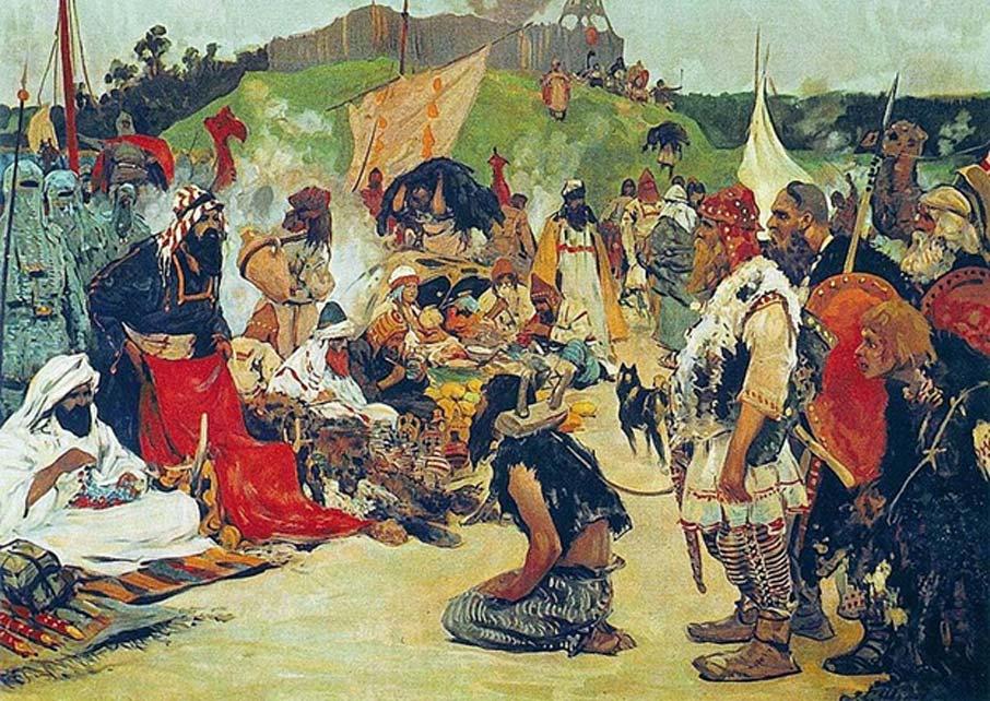 Comercio de esclavos entre los Rus y los jázaros: 'Tráfico de esclavos en el campamento de los eslavos orientales' (1913), óleo de Sergei Ivanov. (Dominio público)