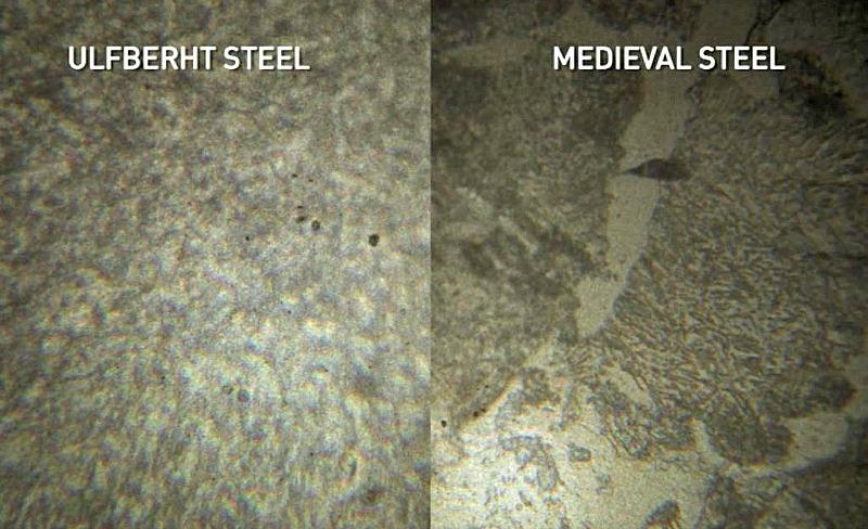 Diferentes niveles de pureza del metal. En estas dos imágenes se puede observar claramente la magnífica consistencia que presenta el acero Ulfberht, casi por completo libre de escoria. (Fotografía: La Gran Época/Screenshot/NOVA/National Geograph)