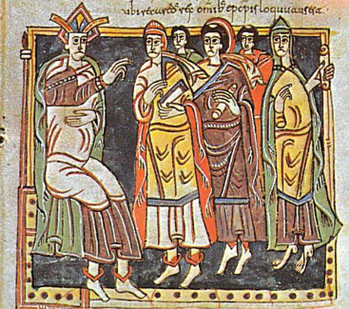 Recaredo y Obispos. Concilio III de Toledo, año 589. Códice Vigilano, fol. 145. Biblioteca del Monasterio de El Escorial, España. (Public Domain)
