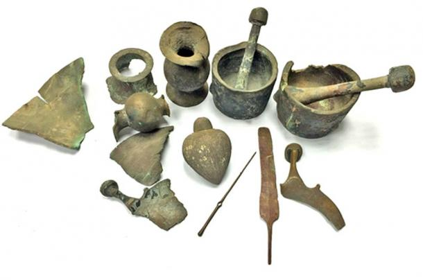 Antiguos hallazgos recuperados del mar por un particular y entregados recientemente a la Autoridad de Antigüedades de Israel. (Fotografía: Diego Barkan, Autoridad de Antigüedades de Israel)