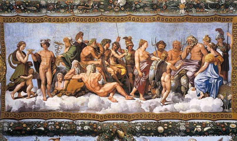 Fresco de Rafael: 'El consejo de los dioses'. (Dominio público)