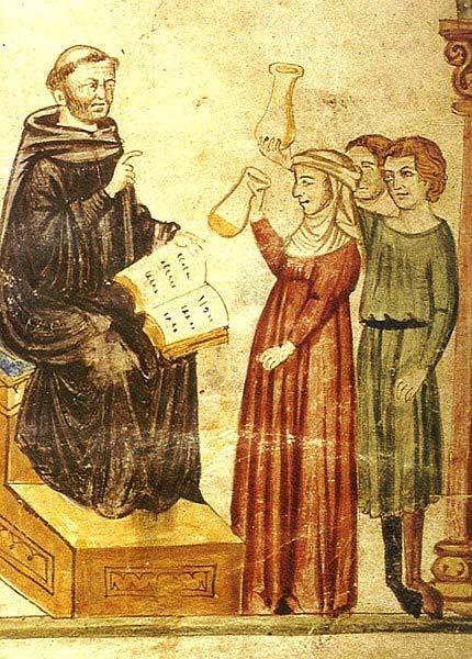 Constantino el Africano examina la orina de diferentes pacientes. (Dominio público)