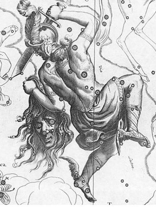Representación artística de la constelación de Perseo con la cabeza de Medusa, ilustración de 1690. (Public Domain)