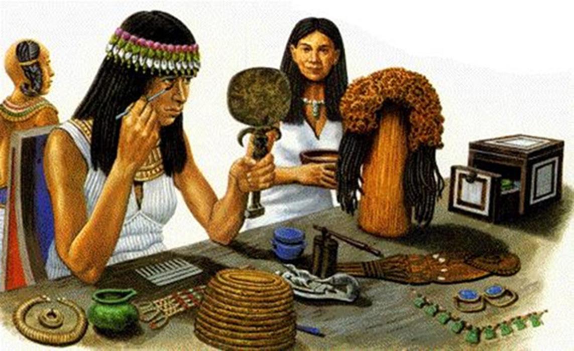 Ilustración de una mujer egipcia aplicándose 'kohl' en el contorno de los ojos. (World of Cosmetology)