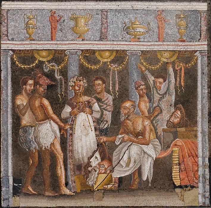 Coregos y actores en un mosaico romano. Casa del Poeta Trágico (VI, 8, 3), Pompeya. (Public Domain)