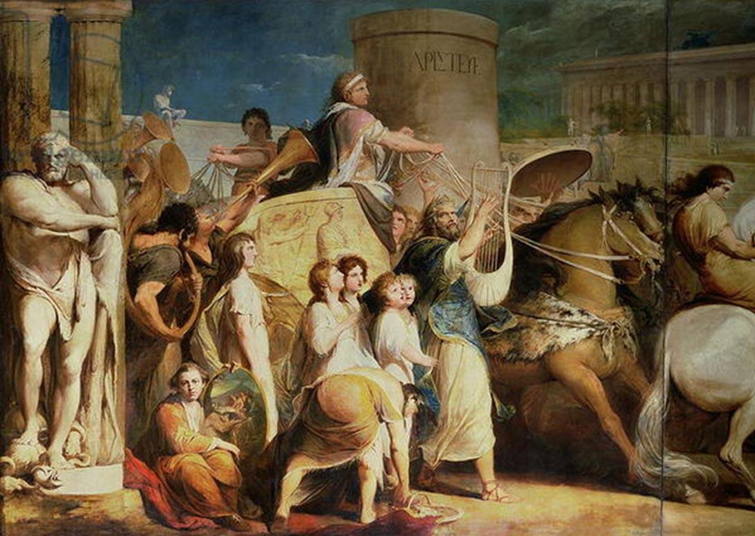 Coronación de los Vencedores en Olimpia. Hierón de Siracusa y los vencedores. Obra de James Barry (Wikimedia Commons)