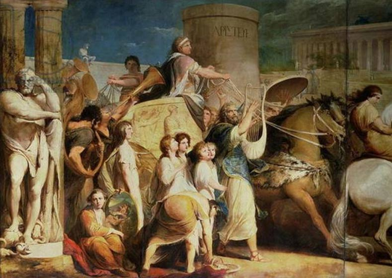 Coronación de los vencedores en los Juegos Olímpicos. Hierón de Siracusa y otros campeones en Olimpia (Dominio público)