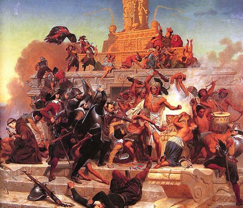 Cortés y sus soldados, protegidos con robustas corazas, se abren camino en Tenochtitlán (Dominio público)