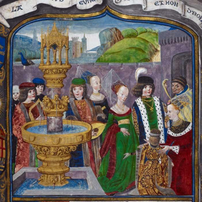 Detalle de una miniatura del siglo XV en la que se observa una 'corte de amor' alegórica (Royal 16 F II, f. 1) Biblioteca Británica