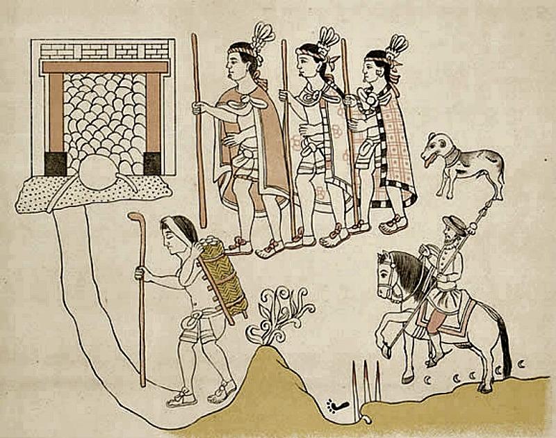 """Los aliados tlaxcaltecas acompañan a Hernán Cortés durante la conquista del imperio Azteca. Ilustración del códice colonial del siglo XVI """"Lienzo de Tlaxcala"""". (Public Domain)"""