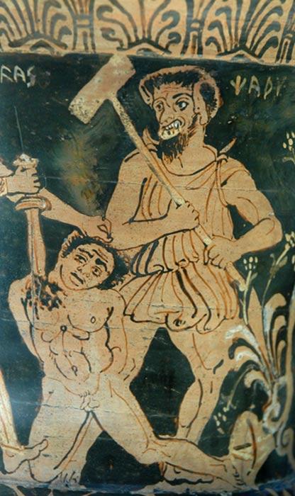 Esta crátera de cáliz etrusca de figuras rojas del siglo IV a. C. representa a Aquiles matando a un prisionero troyano ante Charun o Karun, el demonio etrusco de la muerte, relacionado con el griego Caronte. (Wikimedia Commons)