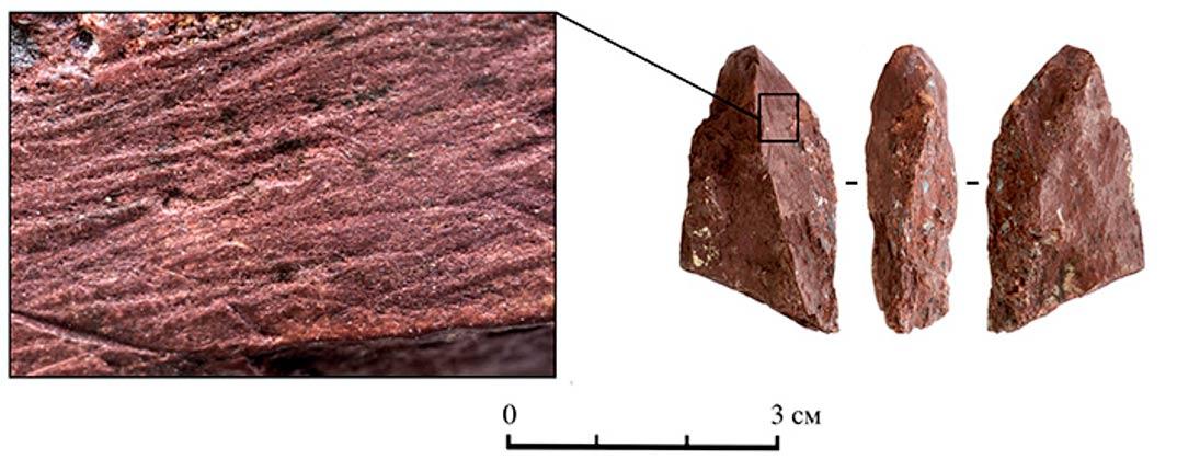 El crayón era utilizado para pintar marcas de un marrón rojizo. (SBRAS Instituto de Arqueología y Etnografía)