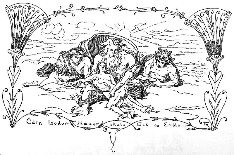 """Hœnir, Lóðurr y Odín crean a Ask y Embla"" (1895) dibujo de Lorenz Frølich (1820-1908). (Public Domain)"