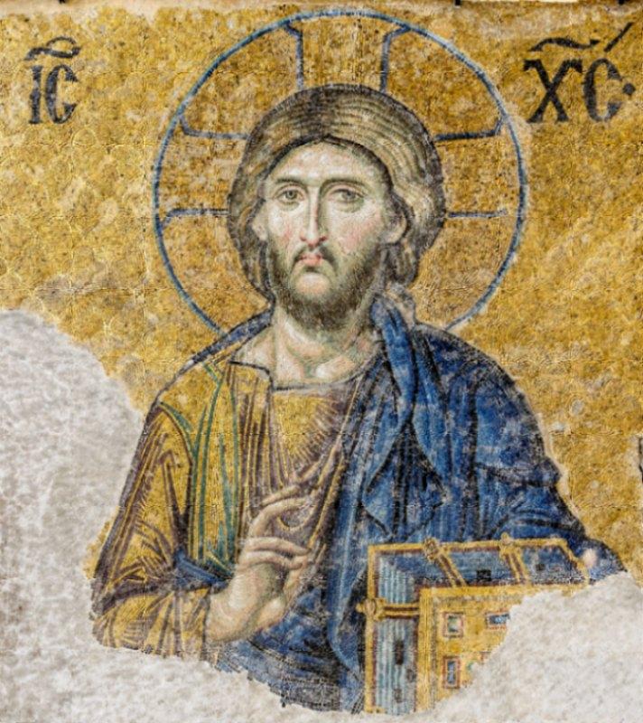 Los cátaros no veían a Jesús como la encarnación de Dios, sino como un ente espiritual. Cristo Pantocrátor perteneciente a mosaico de Santa Sofía de Estambul, Turquía. (Siglo XIII) (Public Domain)